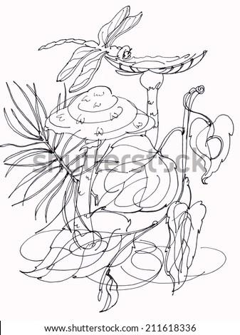 Dragonfly,  illustration, graphic arts - stock photo