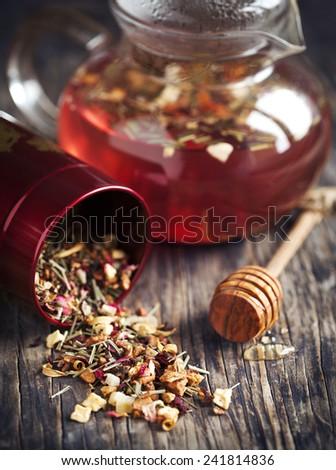 Dragonfruit Herbal Tea. Selective focus - stock photo