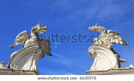 Dragons at the entrance to the sky, Villa Borghese, Rome