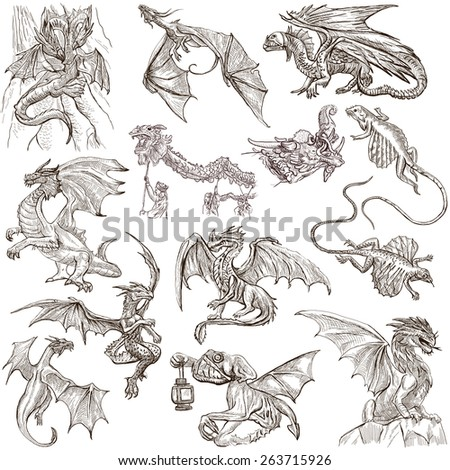 DRAGONS. Collection of an hand drawn full sized illustrations (freehand sketches, originals). Drawings on white background. - stock photo