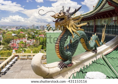 Dragons of Taoist temple in Philippines - stock photo