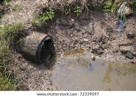drain on land - stock photo