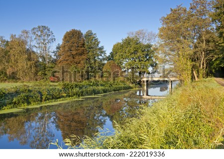 Drainage Canal int he autumn morning light. (Was seen near the village Berge, Brandenburg, Germany.)  - stock photo