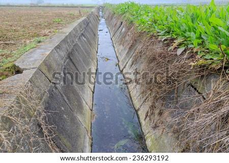 drainage ditch - stock photo