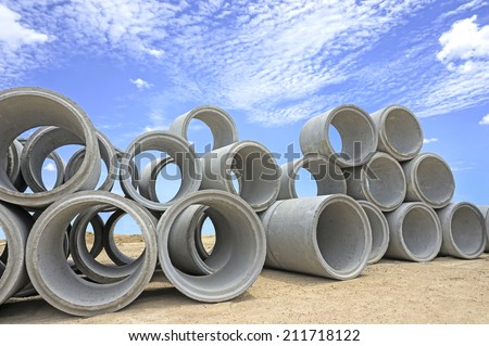 Drainage pipes, concrete - stock photo
