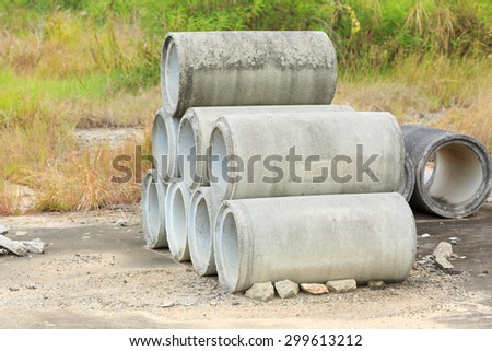 Drainage pipes, concrete - stock photo