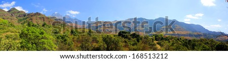 Drakensberg Dragon mountains landscape in Republic of South Africa- panoramic view - stock photo