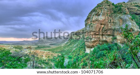 Drakensberg Mountain Scene - stock photo