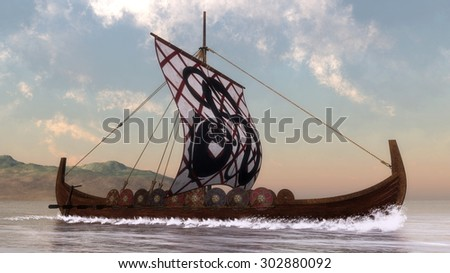 Drakkar on the water next to the coast by day - 3D render - stock photo
