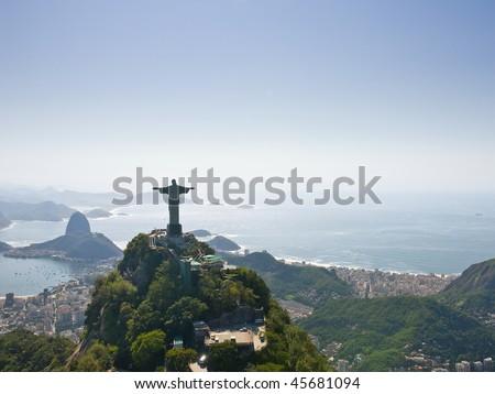 Dramatic Aerial view of Rio De Janeiro - stock photo