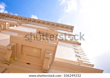 Dramatic angle view of a regency town house in upmarket Knightsbridge, London - stock photo