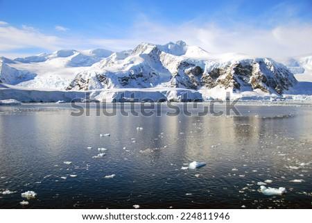 dramatic antarctic mountains - stock photo