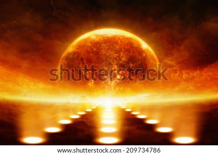 Dramatic apocalyptic background - burning and exploding planet Earth, bright spotlights. Elements of this image furnished by NASA
