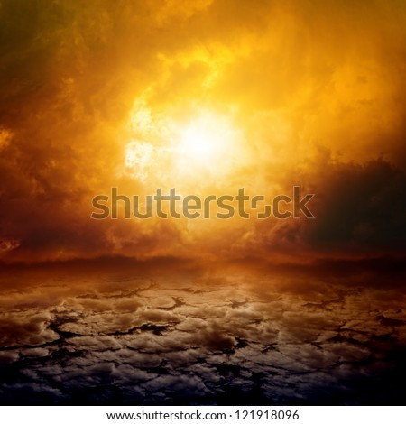Dramatic apocalyptic background, mayan end of world, red sunset, armageddon, hell - stock photo