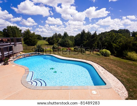 Dramatic back yard swimming pool and garden behind modern single family home - stock photo