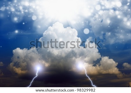 Dramatic background - dark stormy sky, lightning, bright light from above - stock photo