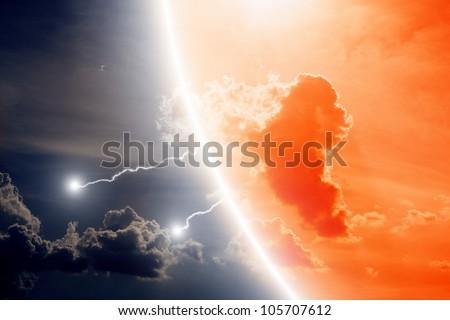 Dramatic background - lightnings in dark sky - stock photo