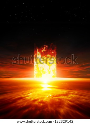Dramatic background - red sunset, burning doorway, way to hell - stock photo