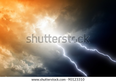 Dramatic background - two lightnings in dark stormy sky - stock photo