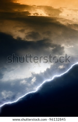 Dramatic background with black copyspace. Dark sky, lightning, hell - stock photo