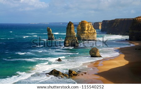 dramatic beautiful 12 apostles in Australia - stock photo