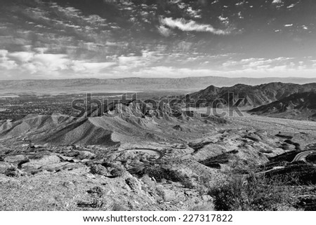 Dramatic Black and White of Palm Desert California and Surrounding Area from Lookout on Route 76 - stock photo