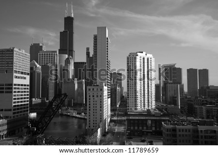 Dramatic Black and White Skyline of Chicago from Condo Balcony