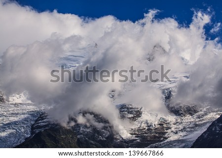 Dramatic clouds and peaks in the Alps