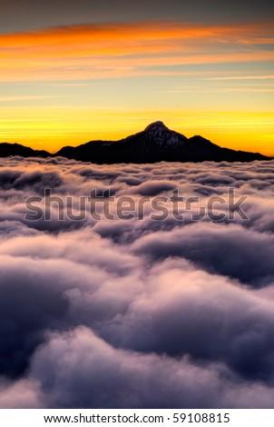 Dramatic clouds in sky in high mountain in Taiwan, Asia. - stock photo