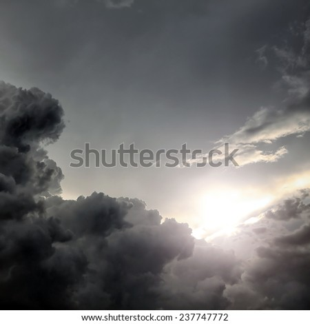 Dramatic Cloudscape Area with Ray of Light - stock photo
