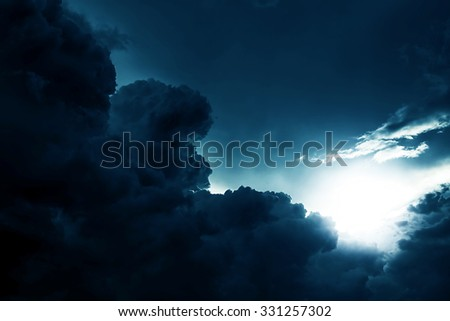 Dramatic Cloudscape Area with the Light - stock photo