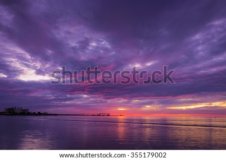 Dramatic cloudy landscape at the beach