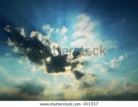 Dramatic Cloudy Sky at Sunset - stock photo