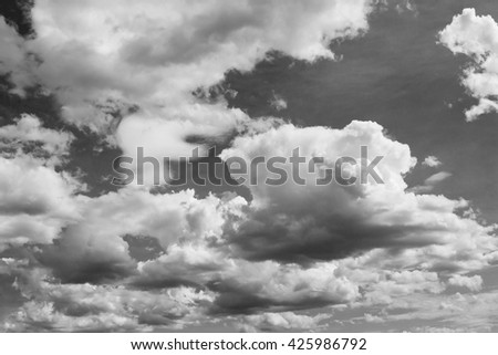 Dramatic cloudy sky in rainy season. black and white cloudy sky.