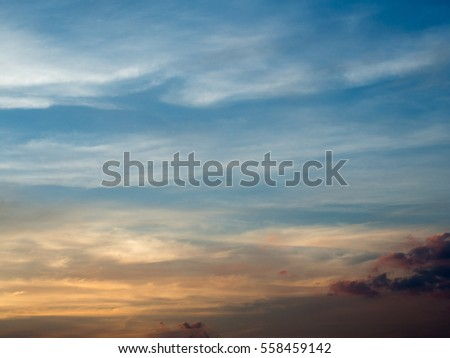 Dramatic color of Sky and twilight cloud
