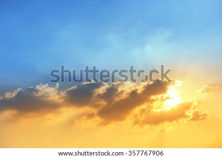 dramatic colorful sky at sunset with clound in Thailand  - stock photo