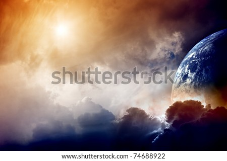 Dramatic dark background - planet Earth disaster - stock photo