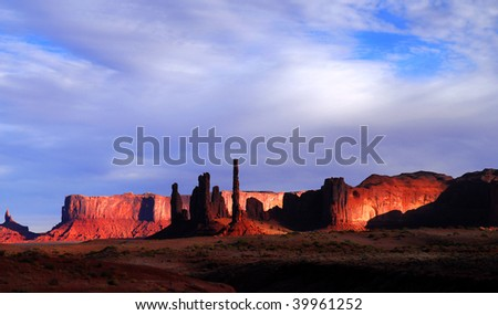 Dramatic dawn in Mystery Valley with the light striking the rock formations