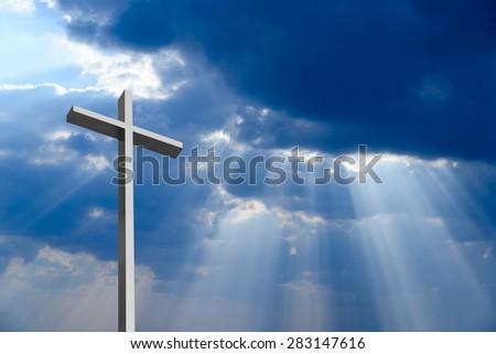 Dramatic deep blue Jesus light shining down - stock photo