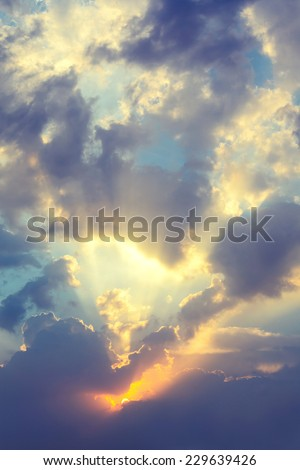 Dramatic Evening Sky with silhouetted cloud - stock photo