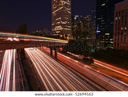 Dramatic Freeway Light Trails in Los Angeles California - stock photo