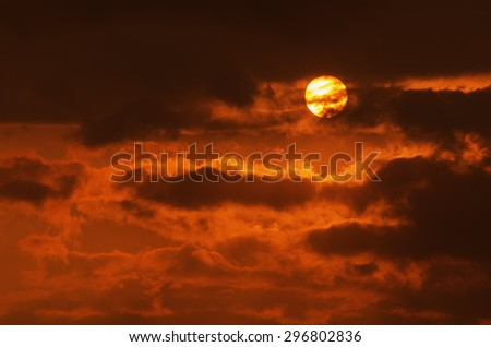 Dramatic golden sky at the sunrise, natural abstract background - stock photo