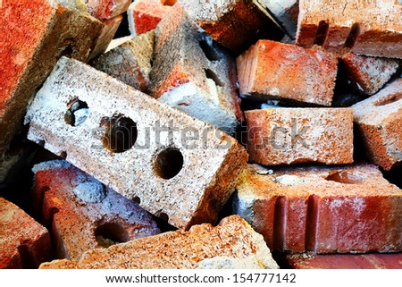 Dramatic hdr rendering od red brick rubbles with great macro details. - stock photo