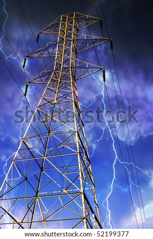 Dramatic Image of Electricity Pylon with Lightning in Background. - stock photo