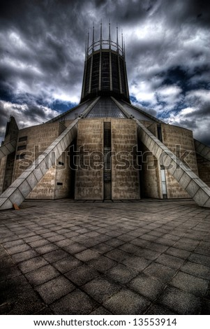 Dramatic image of the Metropolitan Cathedral - Liverpool