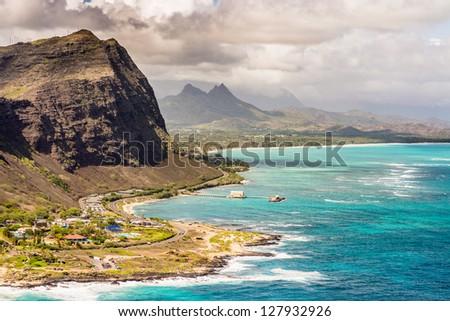 Dramatic landscape of Oahu, Hawaii - stock photo