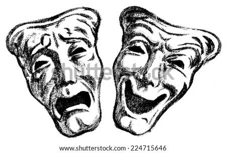 dramatic masks - stock photo