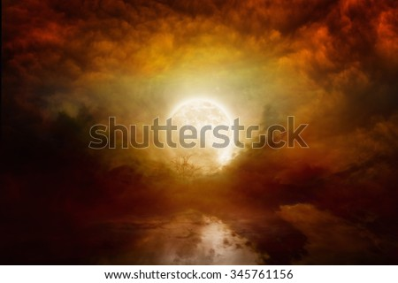 Dramatic mystical background - bloody red full moon with reflection in water. Elements of this image furnished by NASA nasa.gov - stock photo