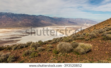 Dramatic panoramic view. Dante's View, Death Valley National Par. Dante's view is a fantastic area high above Badwater with views all up and down Death Valley and across to the Panamint Mountains - stock photo