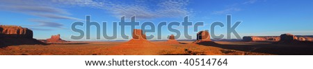 Dramatic panoramic view of Artist Point at Monument Valley - stock photo
